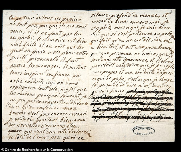 The team found evidence that the Count himself had rewritten parts of the letters, many of which appeared to be copies rather than originals.  Image: A photograph of the second, partially censored page of a letter from Marie Antoinette to Count von Fersson, January 4, 1792