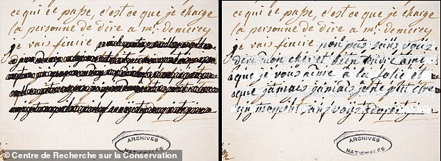 Experts at the Center de Recherche sur la Conservation in Paris were able to distinguish between the ink used in the reduction and the underlying text.  Pictured: A letter from Marie Antoinette to Count von Ferssen, January 4, 1792, with the corrections shown on the left and the restorations of the researchers on the right