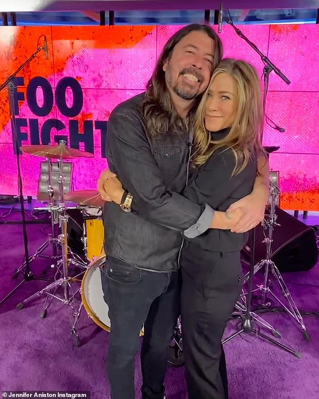 'This super fan will never forget this day!'  Dave recently star-struck Jennifer Aniston as Foo Fighters visited the set of The Morning Show