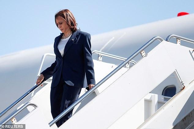 Vice President Kamala Harris - pictured here in a Virginia airport on September 19 - flew our of Maryland Friday afternoon, but reporters weren't permitted to watch Harris leave