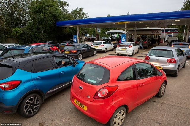 Huge queues again formed this morning at a petrol station in Ely, Cambridgeshire, amid fears the crisis is getting worse in the south east