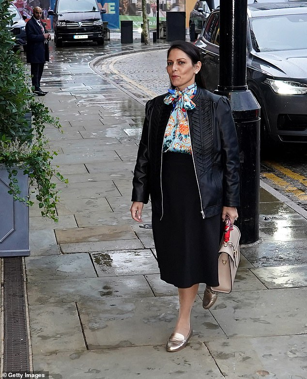 Home Secretary Priti Patel was also seen arriving in Manchester ahead of the Conservative conference