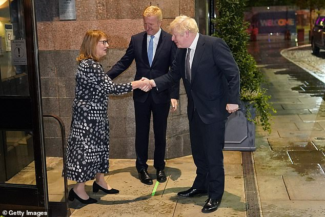 Boris Johnson, pictured meetingPresident of the National Convention, Deborah Toon, has urged Britons to be 'very confident' in the economy and pledged this Christmas will be better than last year's damp squib