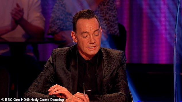 Oh dear: The actor was close to tears after his couple's choice routine with partner Karen but Craig wasn't quite impressed with his move - just giving them 3
