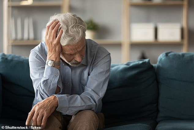 An estimated 850,000 people in the UK suffer from dementia, of whom more than half have Alzheimer's.  Picture, Shutterstock of a sad man