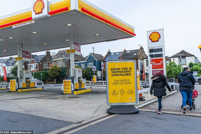 Mr Johnson conceded that many people - particularly in London and the South East - are still struggling to fill up vehicles amid driver shortages and supply chain disruption. Pictured, a petrol station in Wimbledon today