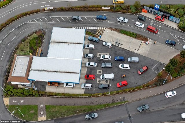 Vehicles stacked up at a filling station in Newmarket today as the fuel shortage carnage continues