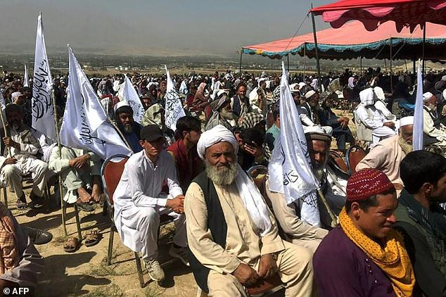 A large crowd of Taliban supporters attended a rally in a vast field to the north of Kabul on Sunday, just hours before a blast killed several civilians at a Kabul mosque