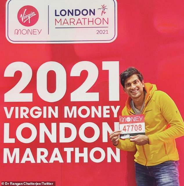 Waking up early: Dr. Rangan Chatterjee got up at 5 a.m. to pick up his marathon number, getting ready to run with Chris and the Virgin Radio team.