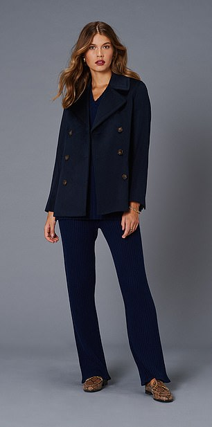 Coat, £225, jumper, £150, and trousers £175, jaeger.co.uk;  Loafers, £195, russellandbromley.co.uk