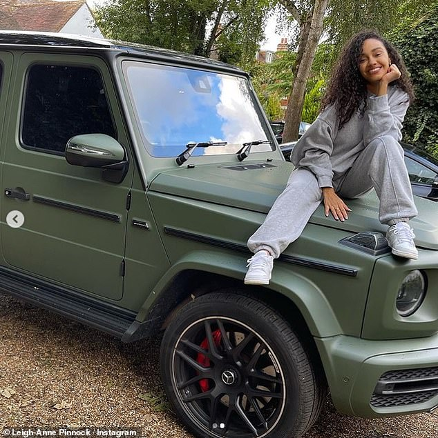 'It's the sexiest thing I've ever seen': Leigh-Anne Pinnock couldn't hide her excitement as she was gifted a khaki £95k Mercedes for her 30th birthday by her footballer fiancé Andre Gray...