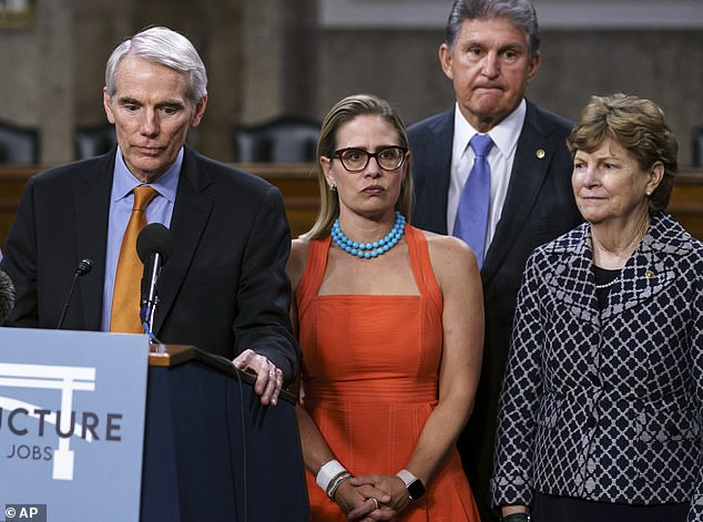 Sen. Kyrsten Sinema (pictured with Senators Rob Portman, Joe Manchin and Jeanne Shaheen) slammed Democratic leaders on Saturday over their 'inexcusable' failure to hold a vote on the $1.2trillion bipartisan infrastructure plan