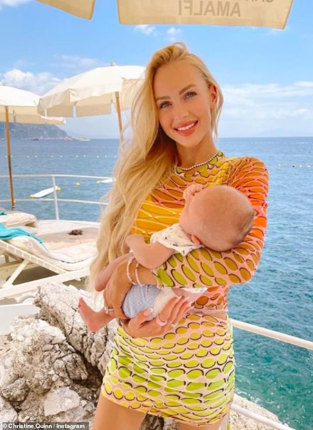 Theatrical birth: Christine exclusively told MailOnline after the weekend outing that the traumatic experience of having an emergency C-section in May has made her more vulnerable in the upcoming series of Sailing Sunset.