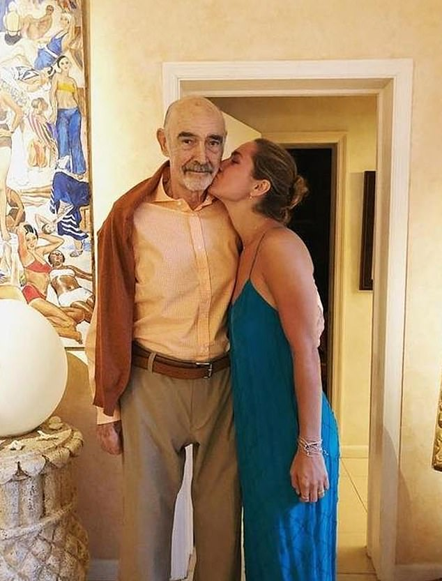 Saskia, 24, who is the granddaughter of Sean Connery, the original James Bond , normally splits her time between the US and the Bahamas (pictured together)