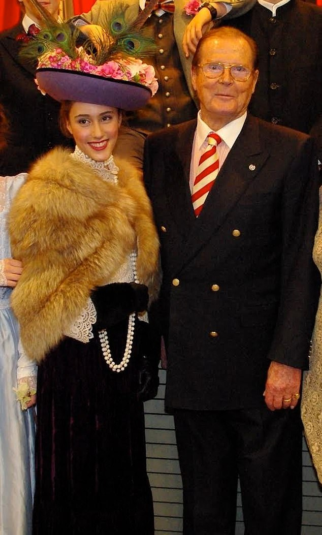 It was Ambra's grandfather Sir Roger who helped her develop as an actress, coming to watch her in school plays and offering feedback on her impromptu performances (pictured together)