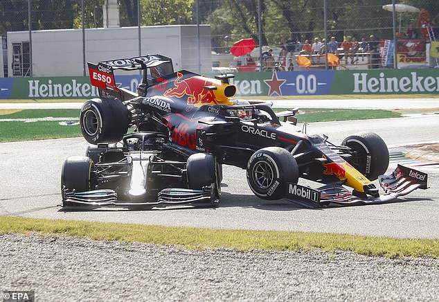 Verstappen's Red Bull flew over Hamilton's Mercedes after they were jostled for position