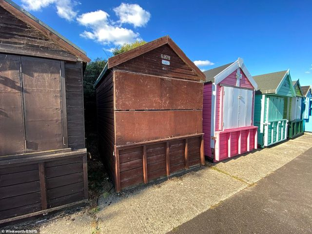 The run-down timber hut is located at Friars Cliff Beach in Christchurch, Dorset, and looks out to The Solent and the Isle of Wight