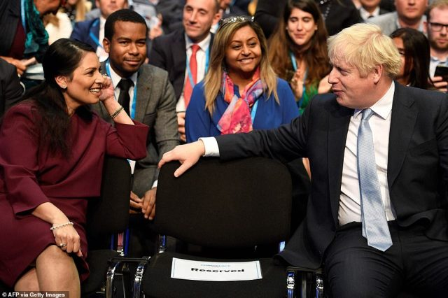 Home Secretary Priti Patel was also in the crowd for the Chancellor's keynote speech today