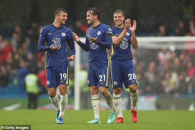 The England international's (middle) celebrations were muted despite scoring on Saturday