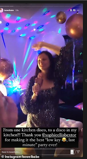 Meanwhile, popstar Sophie later performed at Deborah's birthday party in a room decorated with giant gold and white balloons.