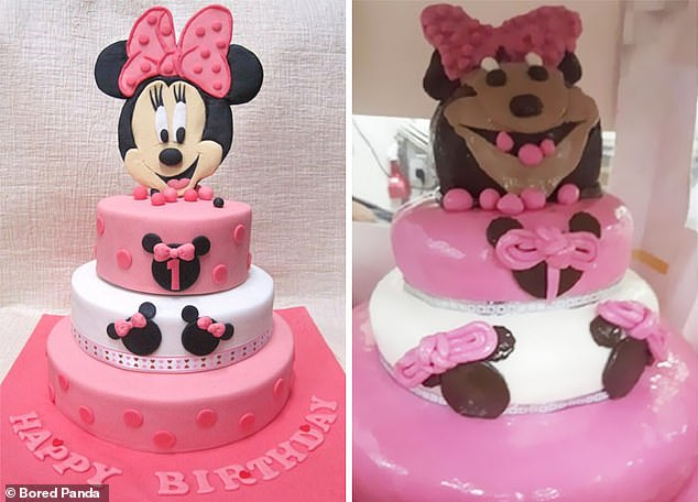 Is that you Minnie Mouse?  Mickey's significant other had a complete renovation in this failure of a cake, and he appeared to be melting