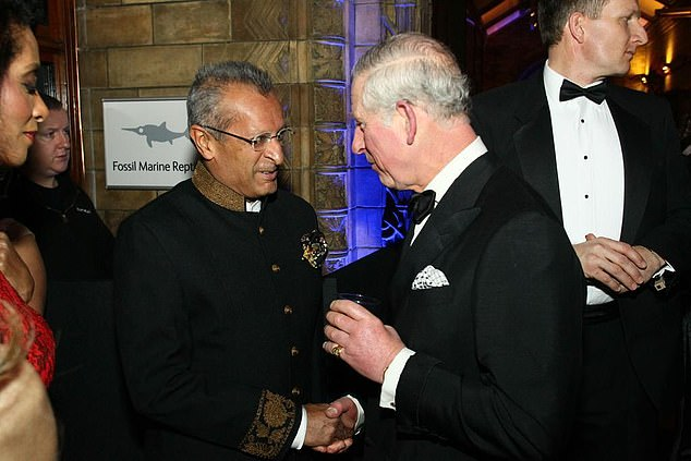 Mohamed Amersi (pictured left with Prince Charles) is a Tory donor who was revealed to have been working as a consultant for a Swedish telecoms firm called Telia in 2010, helping to advise on a deal that saw it arrange to pay £162 million to a secretive offshore company in order to secure a lucrative contract in Uzbekistan