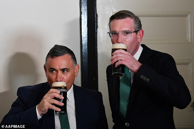 The youngest ever new premier of NSW Dominic Perrottet (right with outgoing deputy premier John Barilaro) apparently loves a drink