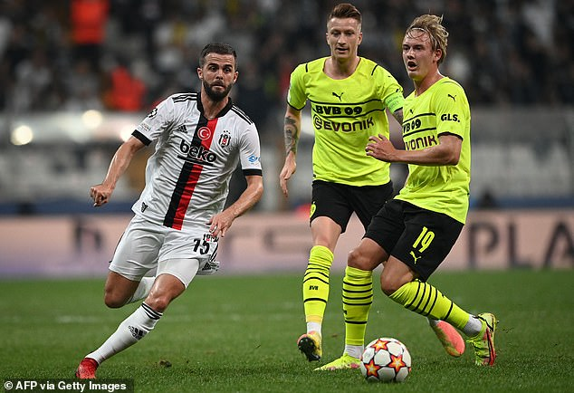 Pjanic (left) meanwhile is finding his form again on loan from Barca at Turkish side Besiktas