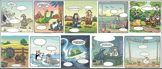 These are the comics that 217 Turkish children were asked to fill out to test their humorous abilities.  Researchers found that the higher a child scored on the IQ scale, the better their jokes