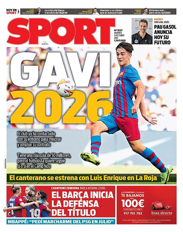 Spanish daily, Sport have reported that Barca want to extend Gavi's contract until 2026