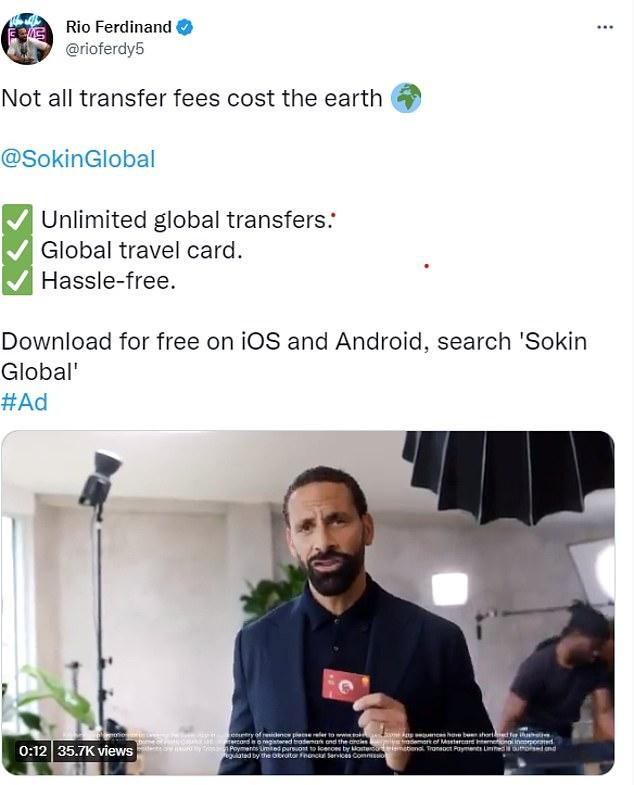 Ferdinand has Sokin plugged in on his social media profile