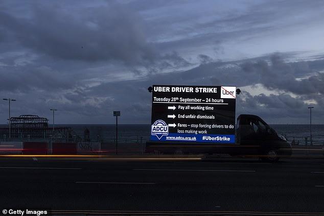 A lorry with a digital display advertising an Uber strike on September 26 in Brighton last week