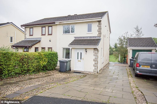 This three-bedroom semi-detached home in Aldercroft, Cumbria, is available to rent for £900 per month through agent Milne Moser