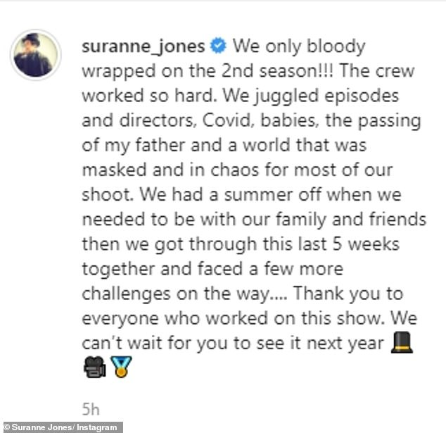 Finally!  Captioning her image, she wrote: 'We have only wrapped up in the second season!!!