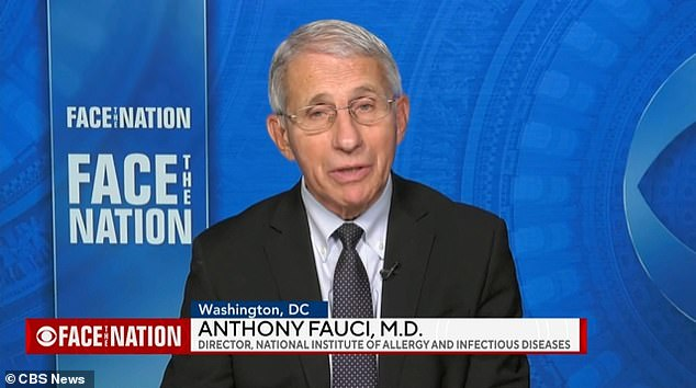 Dr Anthony Fauci (pictured) said on Sunday it was 'too soon' to say whether Americans could gather for Christmas, but on Monday he said his comments had been 'misinterpreted', and that he would not be able to reunite with his family. will spend christmas with