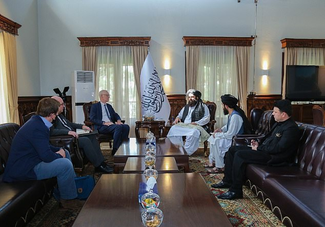 Sir Simon was joined at the meeting bythe Charge d'Affaires of the UK Mission to Afghanistan in Doha Dr Martin Longden