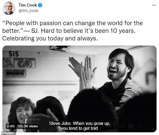 CEO Tim Cook, who replaced Jobs in August 2011, shared the video on his Twitter account with a quote from the late co-founder.