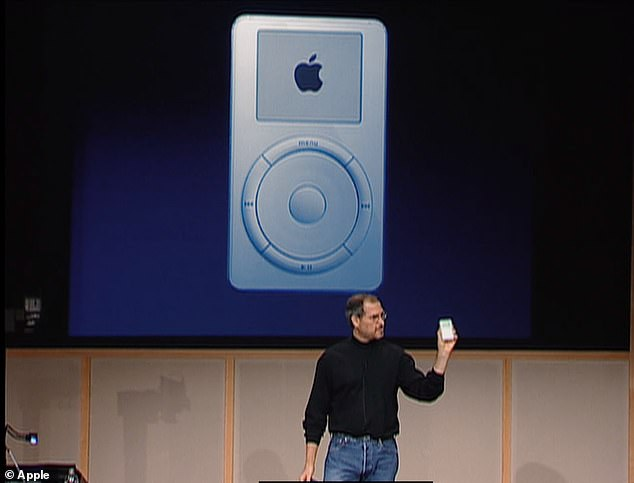Pictured is Jobs introduced the iPod in 2011.  He told the world there are hundreds of songs on a pocket-sized device