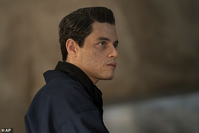 Guys: During the interview he spoke affectionately to his co-stars, calling Bond villain Rami Malek (pictured) a