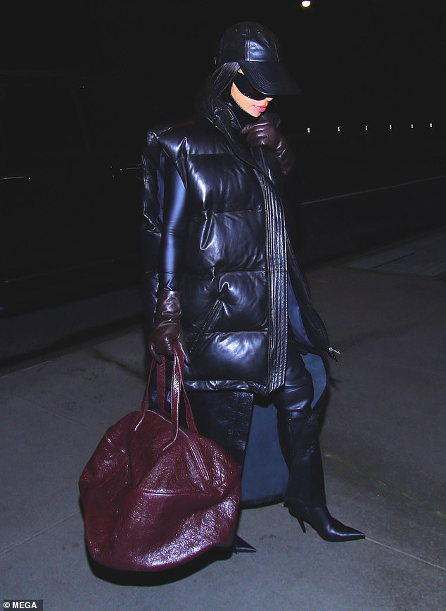 Getting ready: Kim Kardashian looked confident while arriving in New York on Monday night ahead of her first SNL hosting gig this weekend