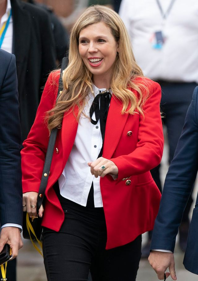 The prime minister's wife (pictured arriving at the conference today), 33, has been named guest of honour at the party's Pride reception in Manchester