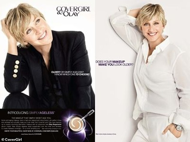 Front and center: She first became the face of CoverGirl in 2008 and it was a highly successful partnership as CoverGirl became the first US cosmetic brand to hit $1billion in sales within a year of the Ellen launch according to The Drum