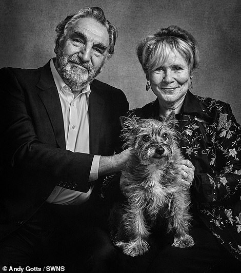 Sweet: Jim Carter and Imelda Staunton with Molly – a rescue dog, Cairn Terrier cross