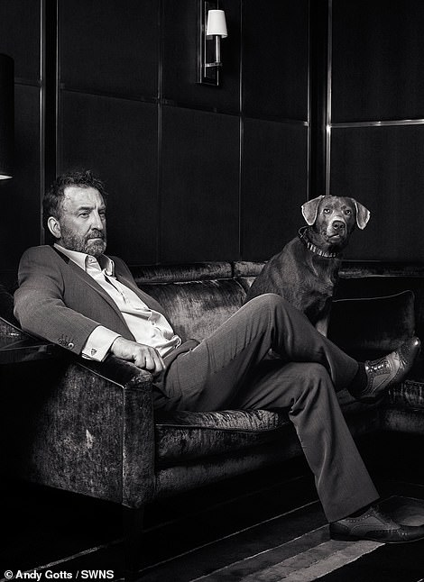 Poches: The world-renowned celebrity photographer has teamed up with the charity and its A-list supporters to highlight the 90th anniversary of the stars' most loyal fans, including Lee Mack, with their silver Labrador.