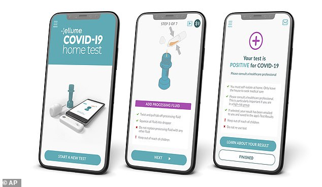 The problem affected 427,000 kits - half of which have already been used - and resulted in 42,000 positives, of which up to 25% could be false.  Image: How the Elume app reveals whether a patient is positive for COVID-19