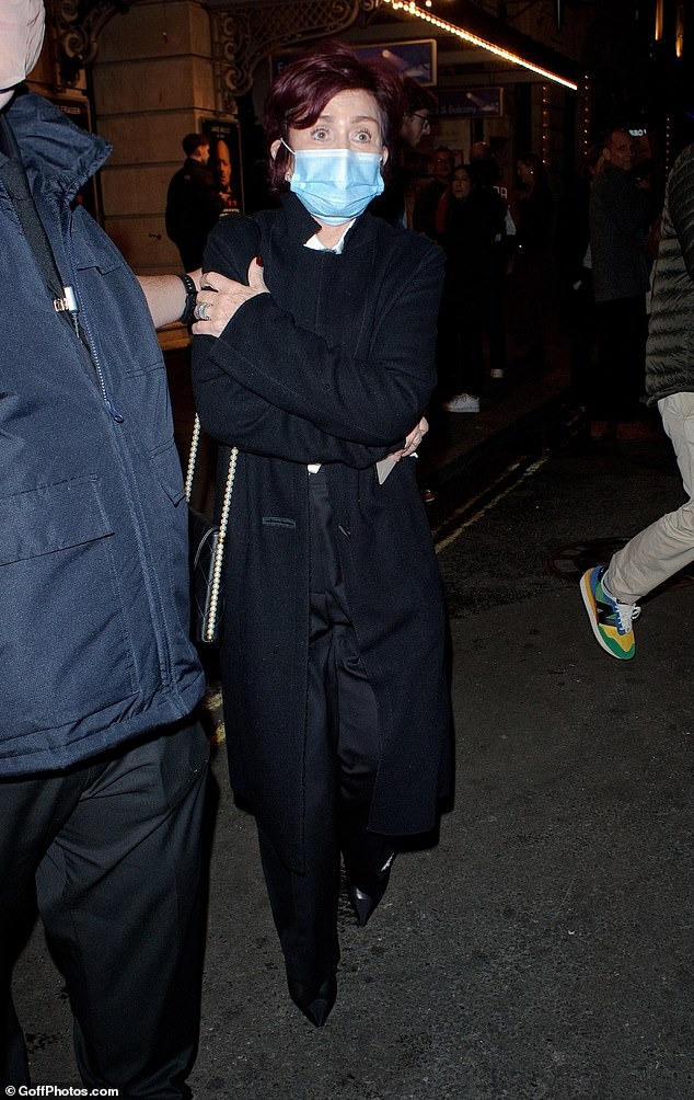 Looking good: Sharon Osbourne, 68, looked chic as she stepped out after watching Lily Allen perform at 2:22 A Ghost Story at London's Noel Coward Theater on Tuesday night