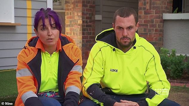 Bad girl: Tanya became public enemy number one after an 'anonymous tradie' sent her a photo of the show's production schedule, giving her and husband Vito - plus the Packham twins - an unfair advantage over their rivals. Pictured with co-conspirator Luke Packham (right)