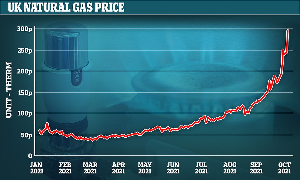 Yesterday the price of gas reached 300p per therm - the first time it has reached that level - as concerns about supplies from Russia and predictions of a cold winter in Europe pushed the price up by a fifth in 24 hours. The price was 150p a month ago and below 50p from February to May