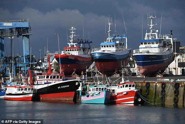 French fishermen have given Britain a two-week deadline to grant licenses to operate in British waters before easing the barrier (file photo of fishing boats at the port of Le Guilvinec in June last year)