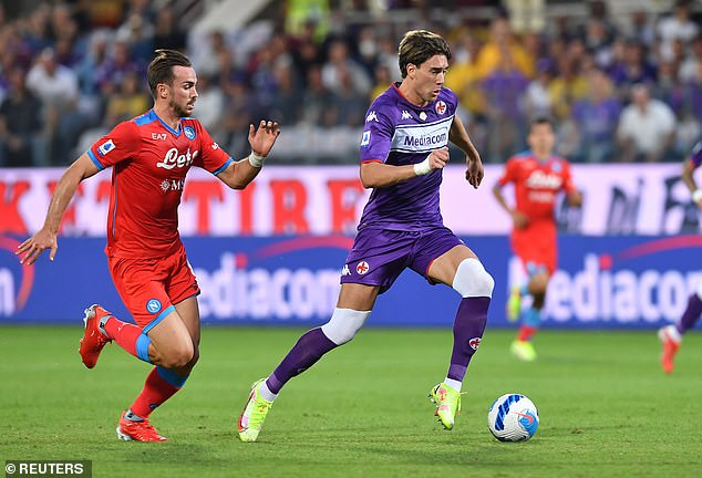 Vlahovic (right) rejected Fiorentina's new long-term deal worth a total of £35million